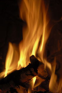 Flames of burning fire in fireplace by Sami Sarkis Photography