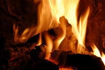 Log fire in chimney von Sami Sarkis Photography