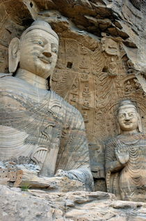 Giant Buddha statues in Yungang Shiku caves von Sami Sarkis Photography
