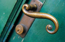 Ornate handle on green door by Sami Sarkis Photography
