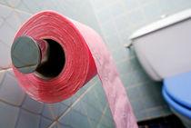Pink toilet roll on holder in bathroom von Sami Sarkis Photography