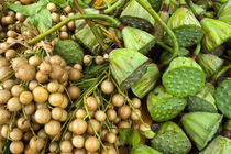 Yellow Grape and Lotus (Nelumbo nucifera) fruits for sale at a food market in Yangshuo by Sami Sarkis Photography