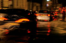 Blurred cars  tail lights in traffic jam  by Sami Sarkis Photography