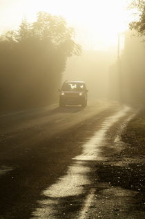 Car on foggy countryside road at sunrise by Sami Sarkis Photography