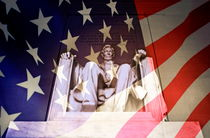 Abraham Lincoln Memorial blended with American flag by Sami Sarkis Photography
