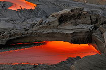 River of molten lava flowing to the sea by Sami Sarkis Photography