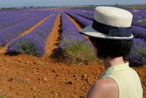 Woman in hat contemplating lavender field by Sami Sarkis Photography