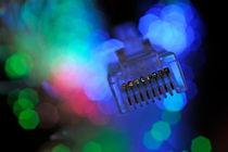 Network Connection Plug and Fiber Optic by Sami Sarkis Photography