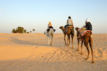 Family riding three camels in desert by Sami Sarkis Photography