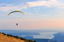 Paragliders flying at sunset by Sami Sarkis Photography