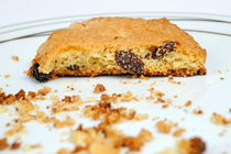 Half cookie and crumbs in plate by Sami Sarkis Photography