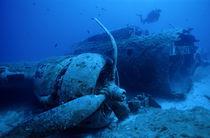 Diver exploring sunken B17 airplane wreck by Sami Sarkis Photography