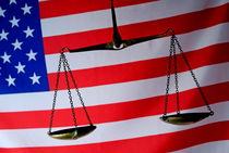 Scales of Justice and American flag von Sami Sarkis Photography