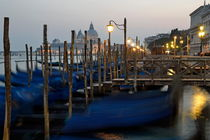 Moored gondolas at dusk in Venice by Sami Sarkis Photography