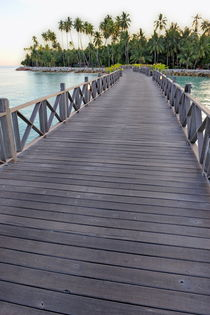 Wooden pontoon leading to island by Sami Sarkis Photography