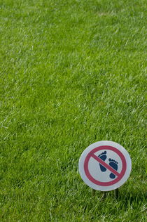 Warning sign on a grassy lawn von Sami Sarkis Photography