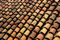 Lines of red tiles on a roof. by Sami Sarkis Photography