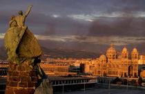 Cathedral  de la Major and cityscape seen from Pharo Hill at sunset by Sami Sarkis Photography