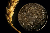 Ear of wheat next to a French fifty franc coin. by Sami Sarkis Photography