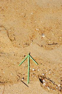 Green plastic arrow on sand by Sami Sarkis Photography