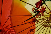 Traditional red and yellow umbrellas sold as souvenirs by Sami Sarkis Photography