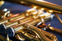 Three musical keys on a shiny trumpet. by Sami Sarkis Photography