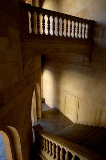 Stone stairwell inside the historic Palace of Charles V at Alhambra by Sami Sarkis Photography