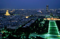 City buildings as seen from the Eiffel Tower at night including the Montparnasse Tower von Sami Sarkis Photography