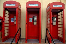 Three old-fashioned public telephone boxes in Gibraltar by Sami Sarkis Photography