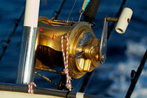 Fishing rods onboard a boat in the Mediterranean Sea von Sami Sarkis Photography