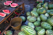 Fresh watermelons for sale at the weekly food market in Fuli village by Sami Sarkis Photography