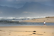 Woman running in the morning by Flamingo lake estuary near Hermanus by Sami Sarkis Photography