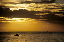 Fishermen in a rowboat silhouetted at sunrise. by Sami Sarkis Photography