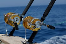 Two rod and reels on board a game fishing boat in the Mediterranean Sea von Sami Sarkis Photography