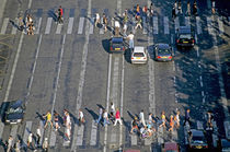 Pedestrians on a zebra crossing on the Champs-...lysÈes by Sami Sarkis Photography