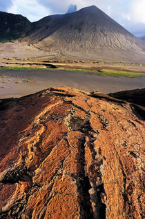Pink sand on an ash plain in front of Mount Yasur by Sami Sarkis Photography