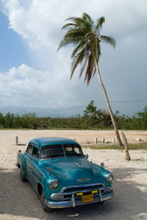 Classic American car parked at Ancon Beach near Trinidad by Sami Sarkis Photography