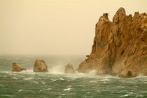 Waves crashing on the Pharillons and Maire Island on a stormy day by Sami Sarkis Photography