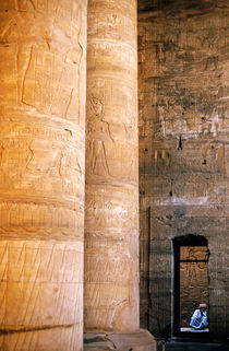 Columns with hieroglyphs depicted Horus at the Temple of Edfu von Sami Sarkis Photography