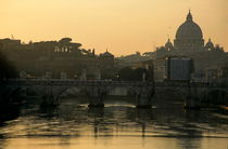 The Sant'Angelo Bridge and the Papal Basilica of Saint Peter at sunset by Sami Sarkis Photography