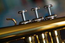 Three musical keys on a shiny trumpet. von Sami Sarkis Photography