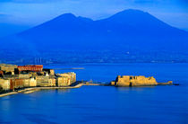 View across the Bay of Naples showing the Aragonese Castle on the peninsula of Ischia with the townscape and Mount Vesuvius in the background von Sami Sarkis Photography