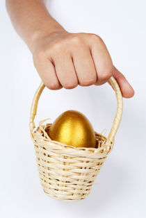 Girl's hand holding basket with golden egg by Sami Sarkis Photography
