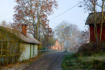 Small village in Sweden on a misty morning by kbhsphoto
