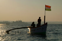 Dolphin Boat with Indian Flag Palolem by serenityphotography