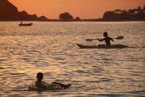 Kayak-and-inflatable-ring-at-sunset-palolem