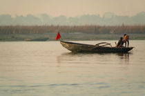 Fishing Boat with Red Flag von serenityphotography