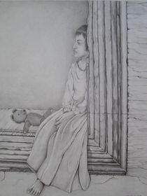 Mädchen auf Mauer von Angelika Wegner