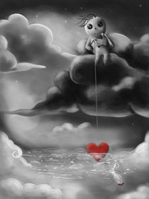 Fishing for Love - Black&White von Gabriela Wendt