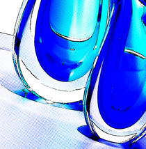 Pop art blue crystal on a table by lions-play